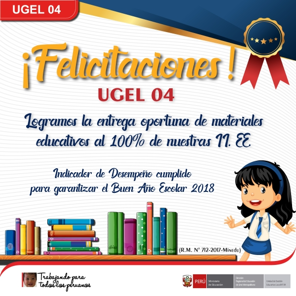 UGEL 04 CUMPLE CON ENTREGA DE MATERIALES EDUCATIVOS AL 100%